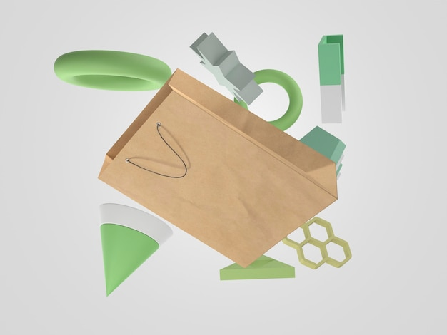 Saco de papel voador 3d para compras em torno de objetos