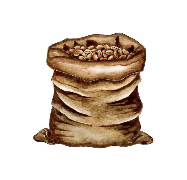 Saco de pintura em aquarela com zeons de café bolsa de café rústico um pacote de grãos de café