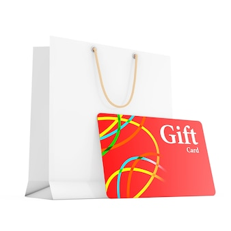 Saco de presente de papel com cartão de presente em um fundo branco. renderização 3d.