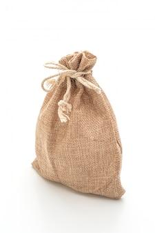 Saco de tecido saco na superfície branca