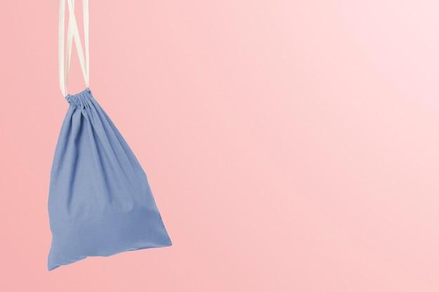 Saco tipo bolsa com cordão, acessório azul com espaço de design