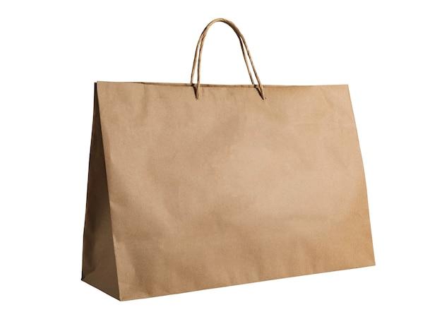 Sacola de compras marrom vazia isolada em um fundo branco