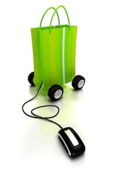 Sacola de compras verde sobre rodas conectada a um mouse de computador Foto Premium