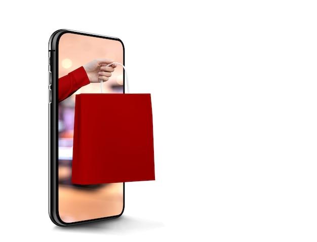 Sacola de compras vermelha enviando do celular