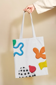Sacola de lona colorida com padrão de argila bonito, moda infantil