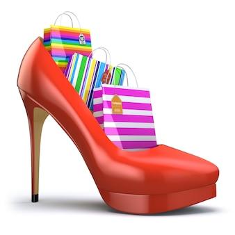 Sacolas de compras em sapatos femininos de salto alto