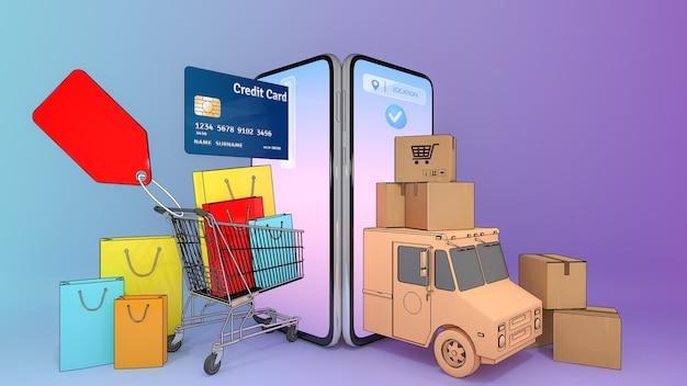 Sacolas de papel e cartão de crédito em um carrinho
