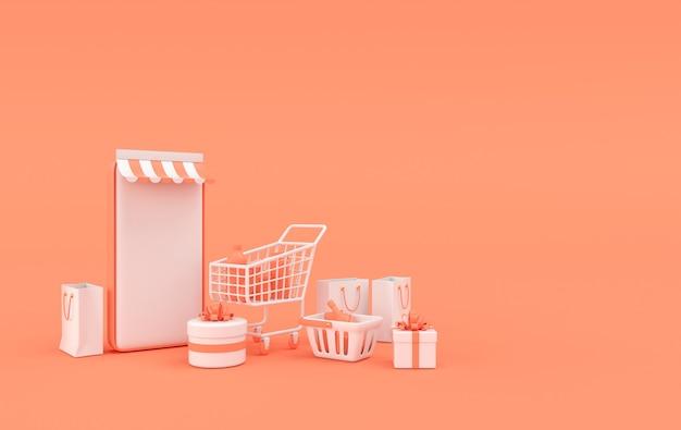 Sacolas e carrinho de compras para smartphone com renderização de caixa de presente de compras