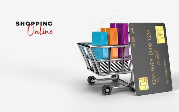 Sacos de compras, carrinho de compras e cartão de crédito são um mercado digital da internet, para check-out pelo consumidor. conceito de comércio eletrônico e negócios de marketing digital. renderização em 3d
