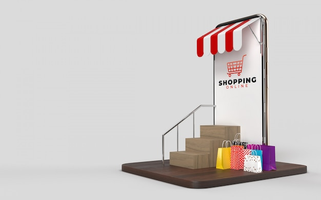 Sacos de compras, carrinho de compras e telefone uma loja on-line