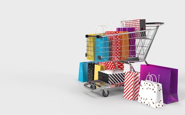 Sacos de compras, carrinho de compras, um mercado digital na internet para o check-out pelo consumidor.