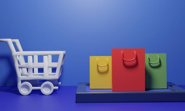 Sacos de compras com carrinho na superfície azul