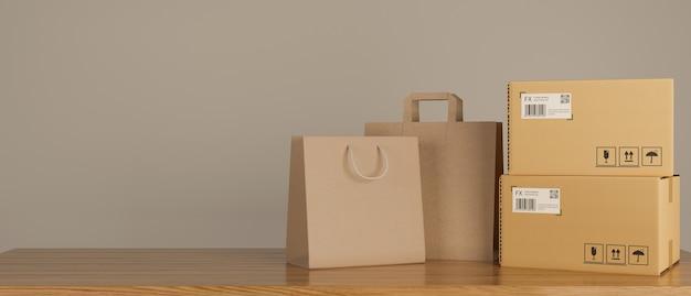 Sacos de compras e caixas de papelão empilhados sobre a mesa de madeira, renderização 3d, ilustração 3d