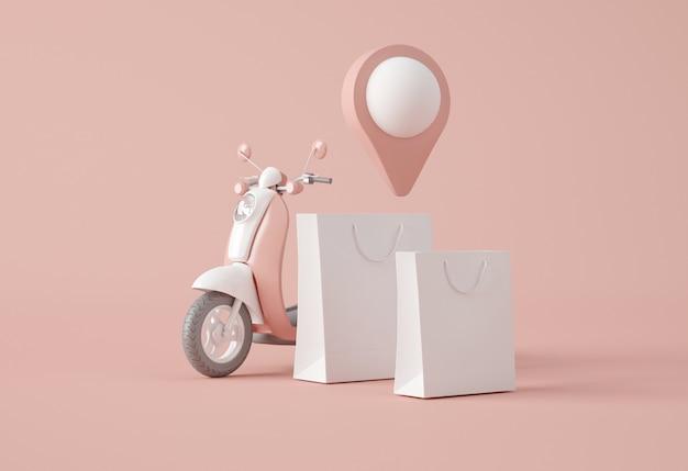 Sacos de compras e moto