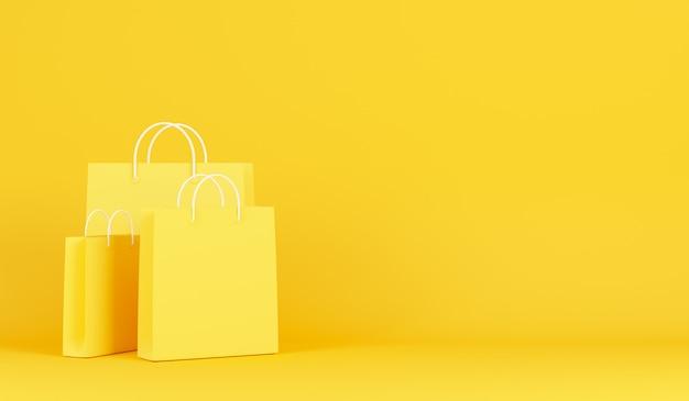 Sacos de compras em fundo amarelo