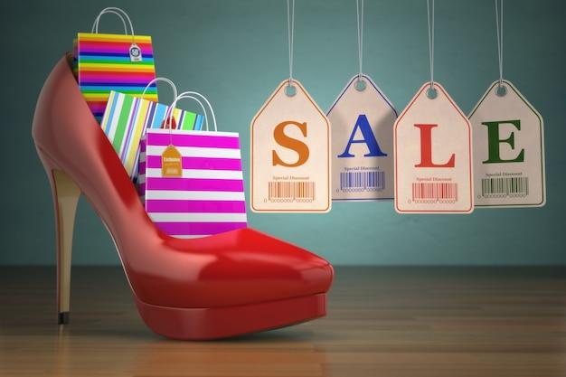 Sacos de compras em venda de etiquetas e sapatos femininos de salto alto conceito de consumismo 3d