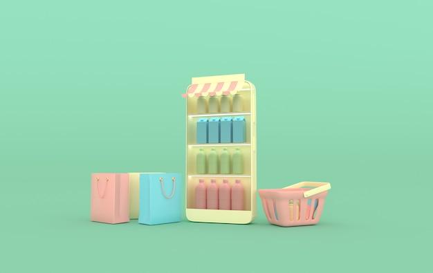 Sacos de compras para smartphone com prateleiras de bebidas e renderização de cestas de compras