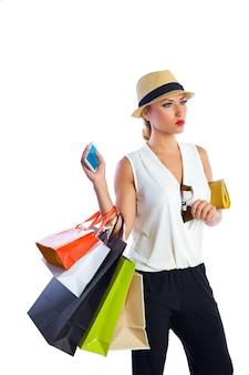 Sacos de mulher loira shopaholic e smartphone