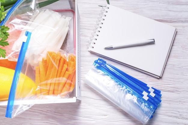 Sacos de plástico com fecho de correr para armazenamento de alimentos e frutas