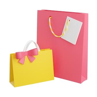 Sacos de presente com alças, cartão e arco 3d rendem a ilustração. pacotes de compras de papel ou plástico para o conceito de parabéns aniversário ou aniversário. pacotes de papelão de saudação isolados no branco.
