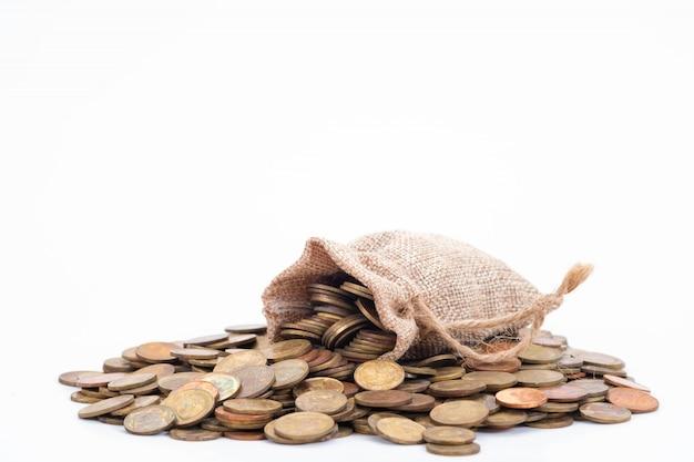 Sacos e moedas de dinheiro