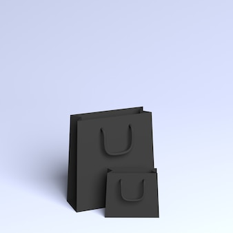 Sacos pretos 3d com espaço de cópia gradiente