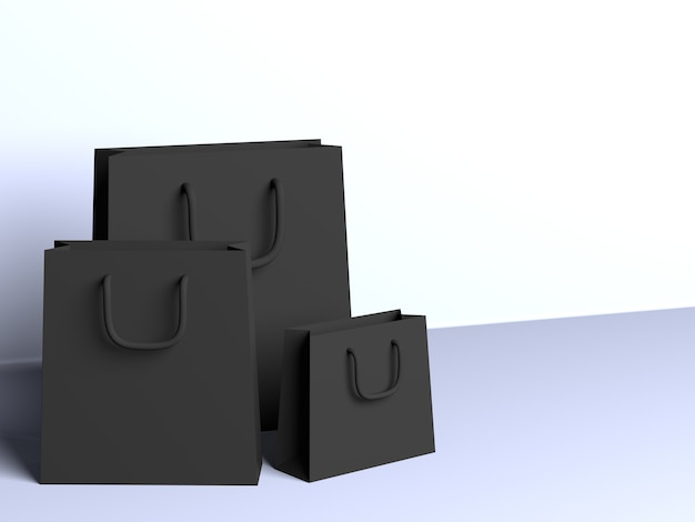 Sacos pretos 3d com fundo branco
