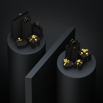 Sacos pretos e presentes com elementos dourados no sinal de porcentagem