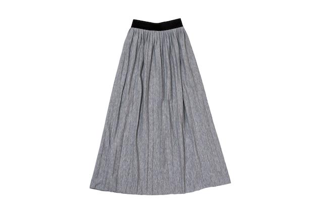 Saia pregueada cinza plana. conceito de moda. isole em fundo branco.