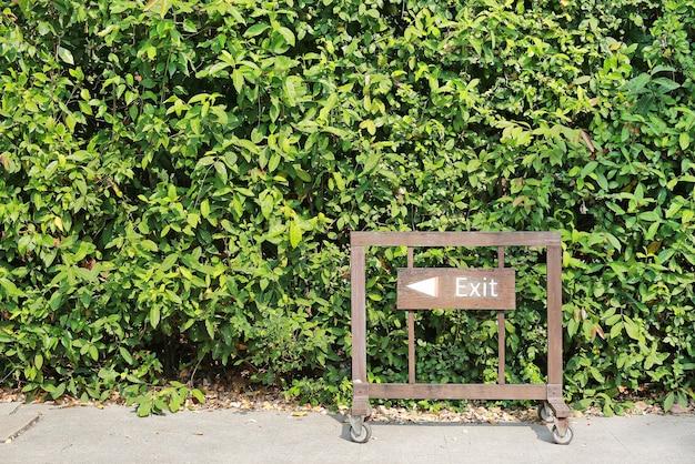 Saída com sinal de seta na placa de madeira contra o fundo da parede de folha verde