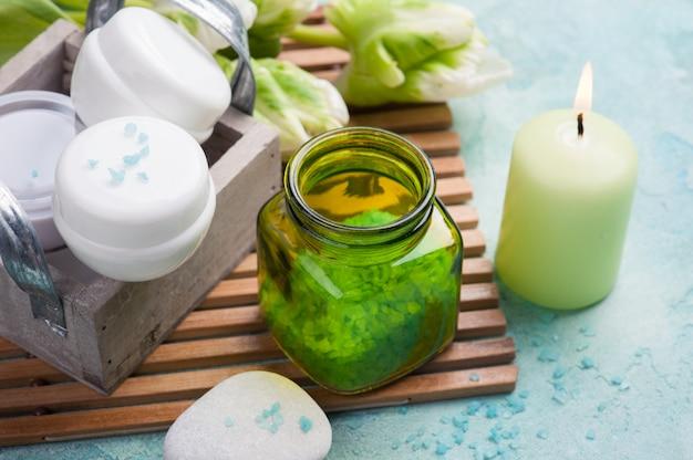 Sal de banho e produtos cosméticos