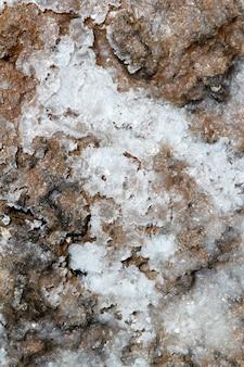 Sal seco no fundo marinho de textura de chão