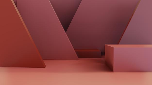 Sala 3d com caixa vermelha e triângulo
