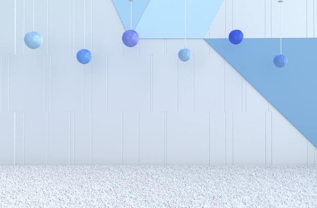 Sala azul com esferas suspensas