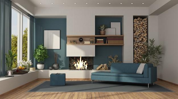 Sala azul e branca com lareira com sofá moderno