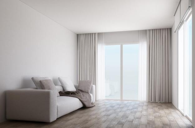 Sala branca com piso de madeira e portas de correr com cortinas