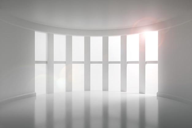 Sala branca com porta e janela ilustração 3d