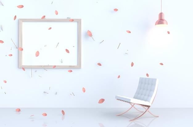 Sala branca com porta-retrato, folhas de rosa choque