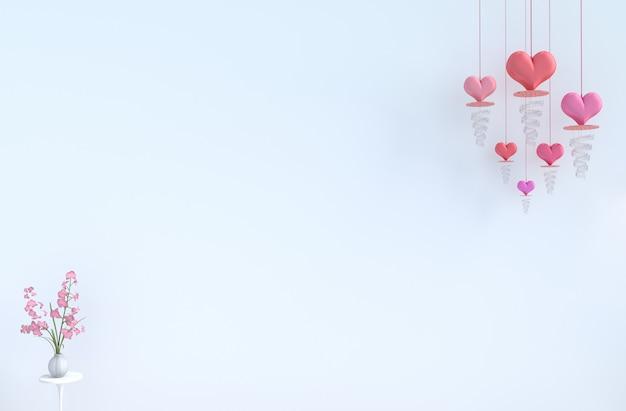 Sala branca de amor. com coração vermelho, orquídea rosa no dia dos namorados.