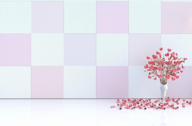 Sala branca de amor. com coração vermelho, rosa vermelha no dia dos namorados.