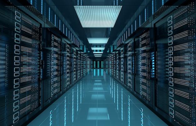 Sala central de servidores escuros com computadores e sistemas de armazenamento