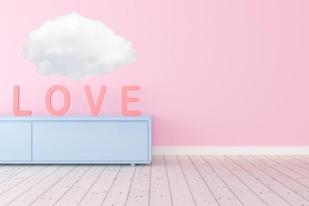 Sala com alfabeto do amor e nuvem branca no armário azul, conceito dos namorados.