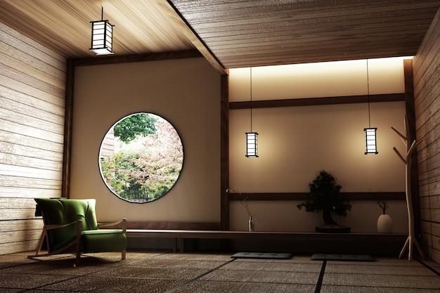 Sala com cadeira, lâmpada, árvore bonsai e tatame na parede moderna vista da janela de madeira.