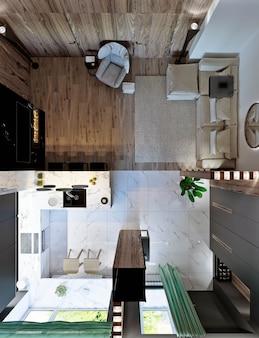 Sala com cozinha, hall e sala de jantar, lareira, painéis de madeira e mármore