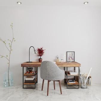 Sala com mesa e cadeiras de madeira renderização 3d