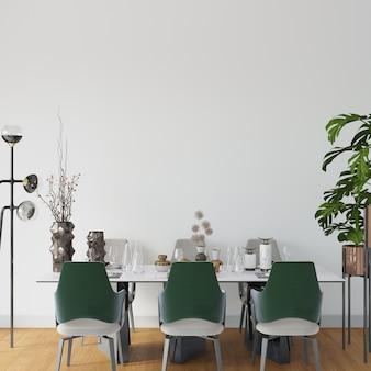 Sala com mesa e cadeiras no chão de madeira