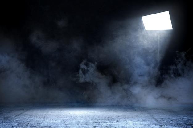 Sala com piso de concreto e fumaça com luz de holofotes, plano de fundo