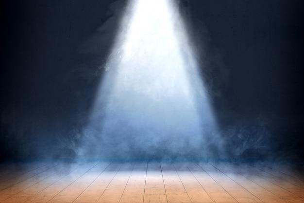Sala com piso de madeira e fumaça com luz de cima, fundo