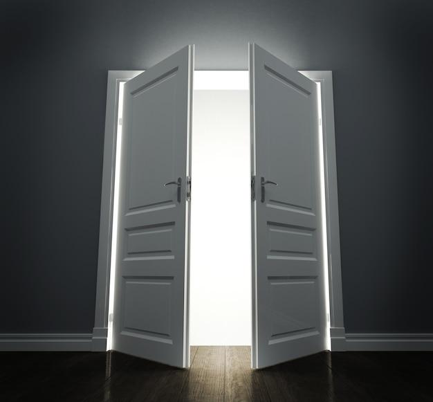 Sala com portas abertas