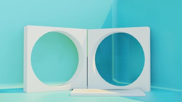 Sala com renderização 3d no pódio
